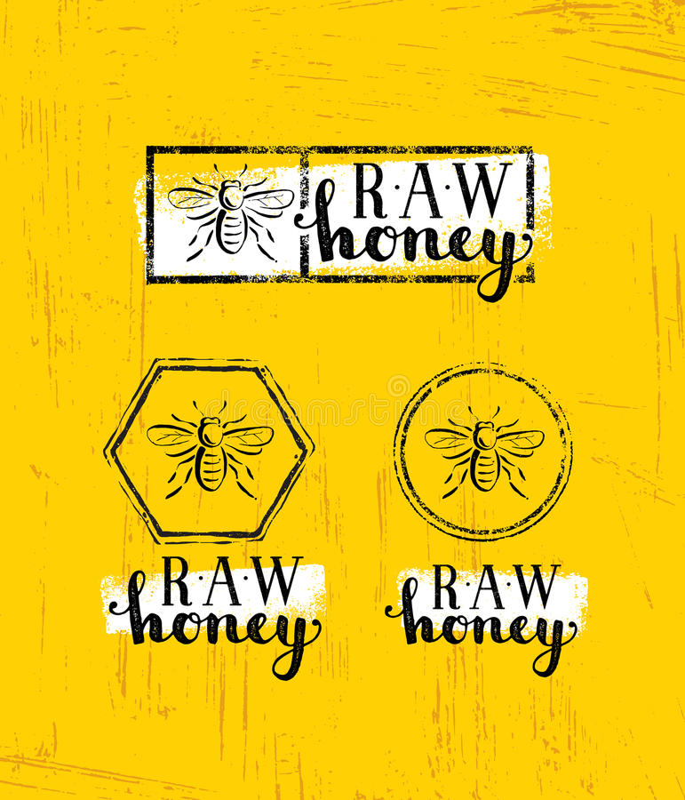 Raw Honey Creative Sign Vector Concept. Organic Healthy Food Design Element With Bee Icon On Rough Stained Background.  vector illustration