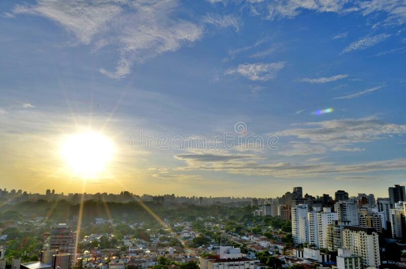 Raw Houses and City Buildings during Dawn stock photography