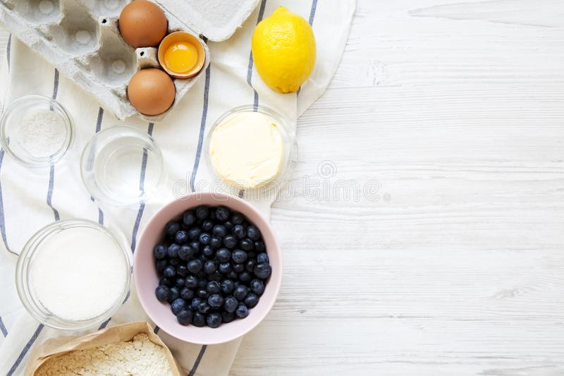 Raw ingredients for cooking blueberry pie, view from above. Overhead, top view stock image