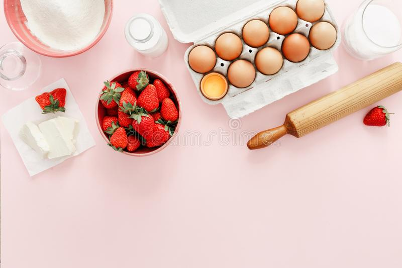 Raw ingredients making strawberry pie cake Bakery background Rec royalty free stock photography