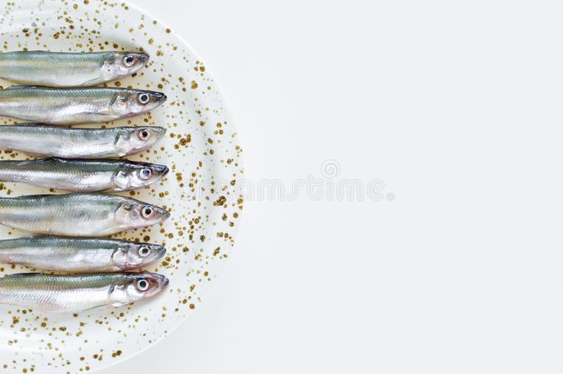 Raw mackerel on a plate. White background, top view, space for text. stock photography