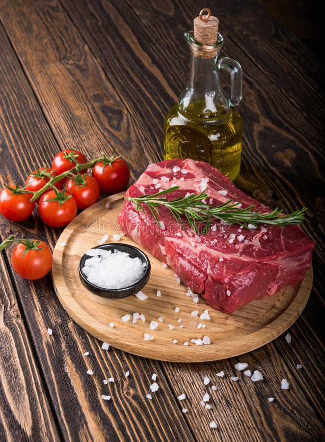Raw marbled meat steak Ribeye royalty free stock image