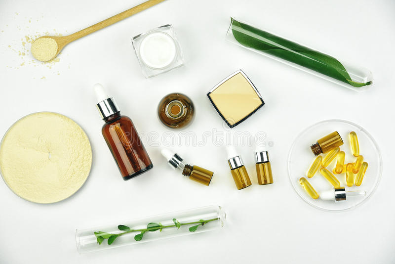 Raw material and cosmetics beauty product packaging, Natural organic ingredient royalty free stock image