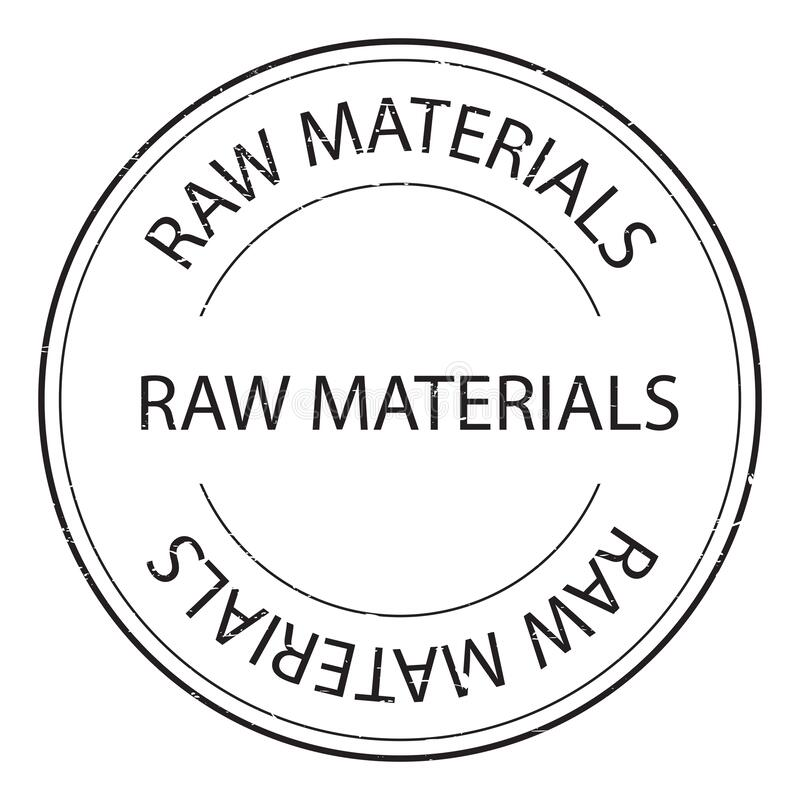 Raw materials stamp. On white royalty free illustration