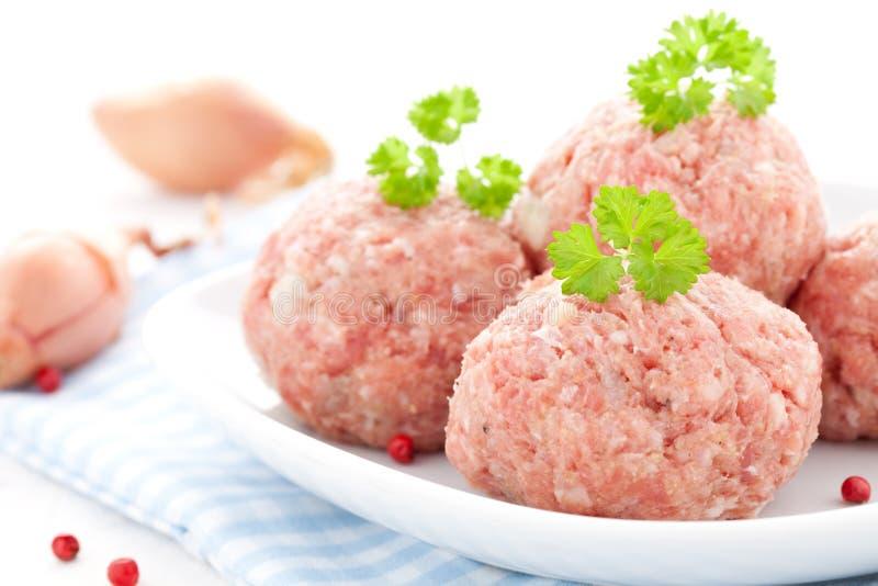 Raw meat balls royalty free stock photo