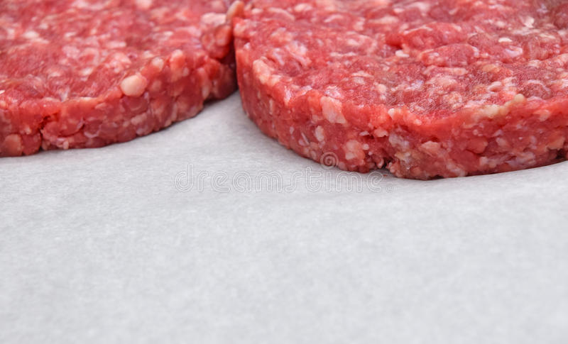 Raw meat burgers for hamburgers on parchment. Raw red meat burgers for hamburgers of minced ground beef or pork on white parchment paper ready for cooking stock photography