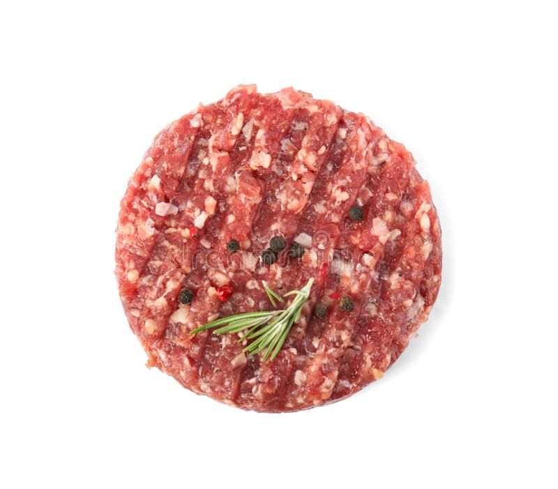 Raw meat cutlet for burger isolated on white royalty free stock image
