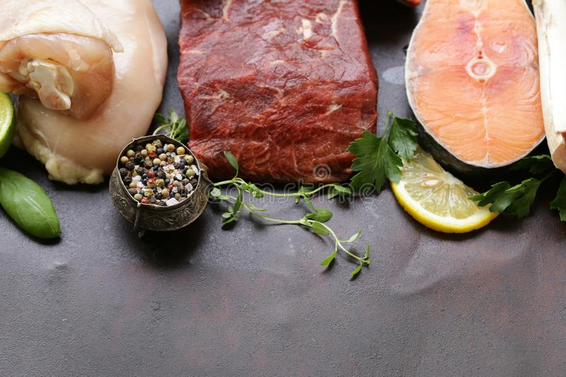 Raw meat, fish and chicken. Healthy food royalty free stock photos