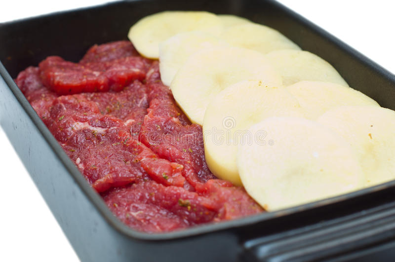 Download Raw meat and potatoes stock photo. Image of protein, steak - 18018996