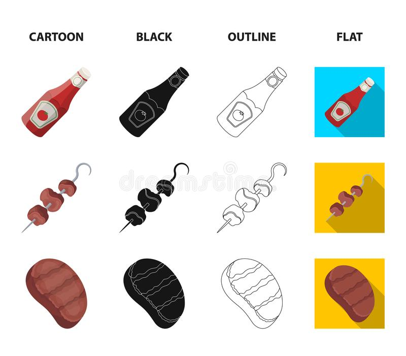Raw meat steak, grill with handle, bottle of ketchup, shish kebab.BBQ set collection icons in cartoon,black,outline,flat. Style vector symbol stock illustration stock illustration