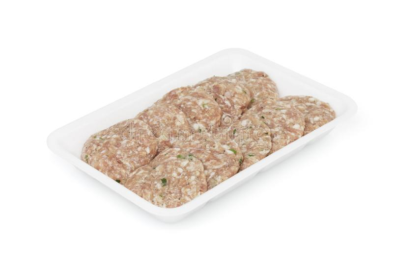 Raw meatballs isolated on white stock image