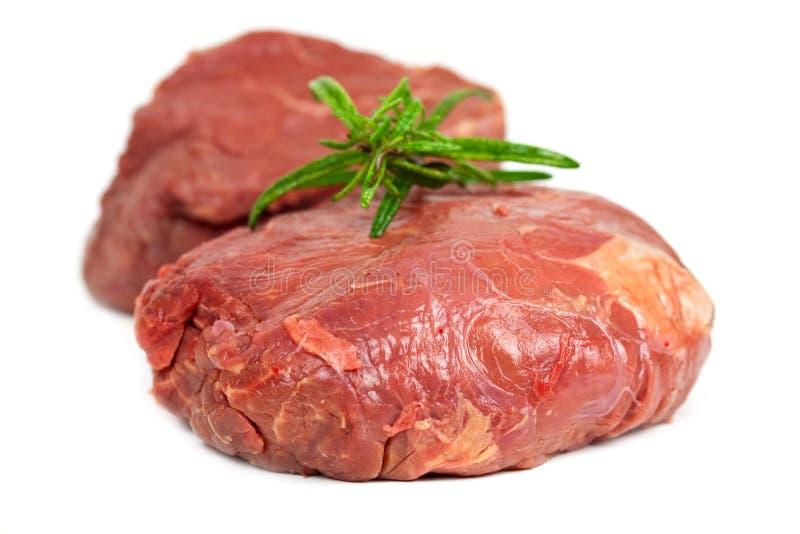 Raw mignon steak,isolated on white stock photo