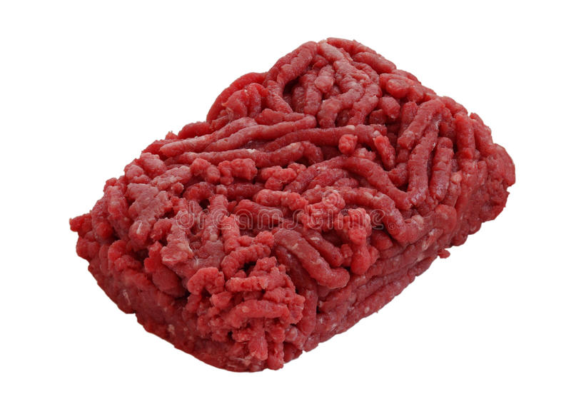 Raw Mince Beef. On white background royalty free stock photo