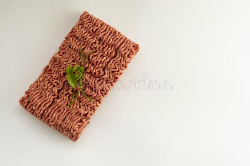 Raw minced meat, isolated on white background copy paste cooking hamburger top view royalty free stock images