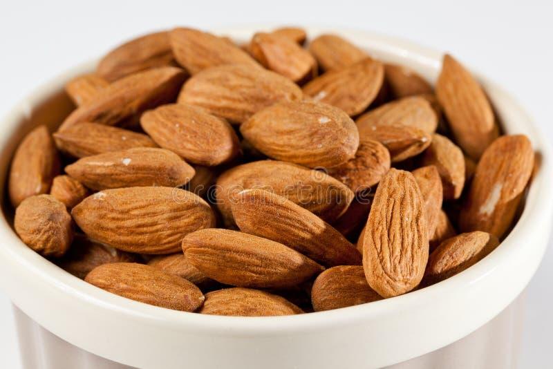Raw Organic Almonds In Bowl Royalty Free Stock Photo