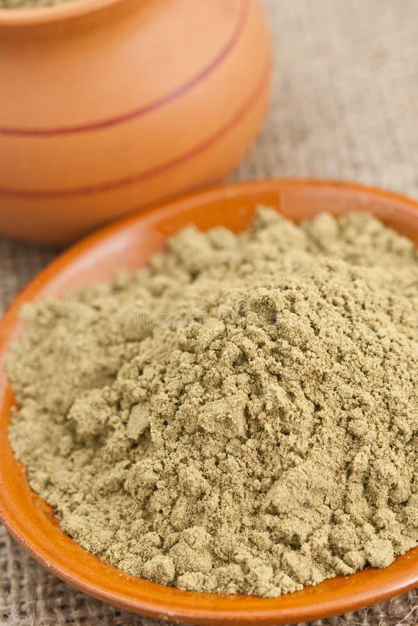 Raw organic hemp protein powder. Ceramic dishes filled with raw organic hemp protein powder royalty free stock image