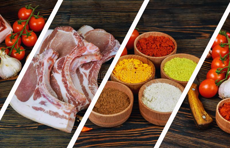 Raw organic meat. Pork steaks, fillets for grilling, baking or frying. On a wooden cutting board, with salt, pepper, basil, tomato stock image