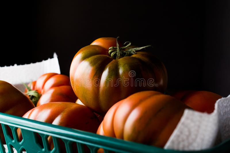 Raw Organic Red and Brown Heirloom Tomatoes. Organic Food stock photos