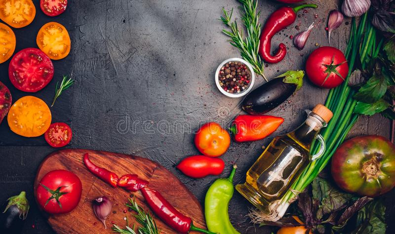 Raw organic vegetables with fresh ingredients for healthily cook stock images