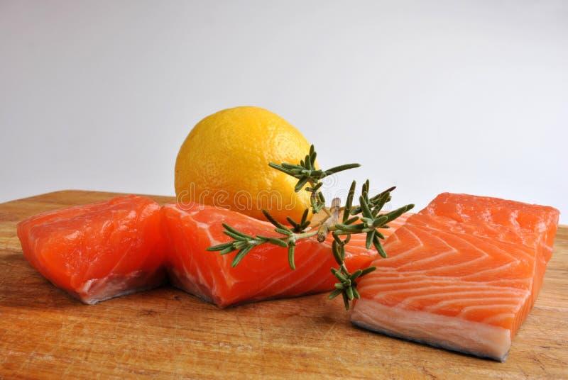 Raw organic wild salmon steak royalty free stock photos