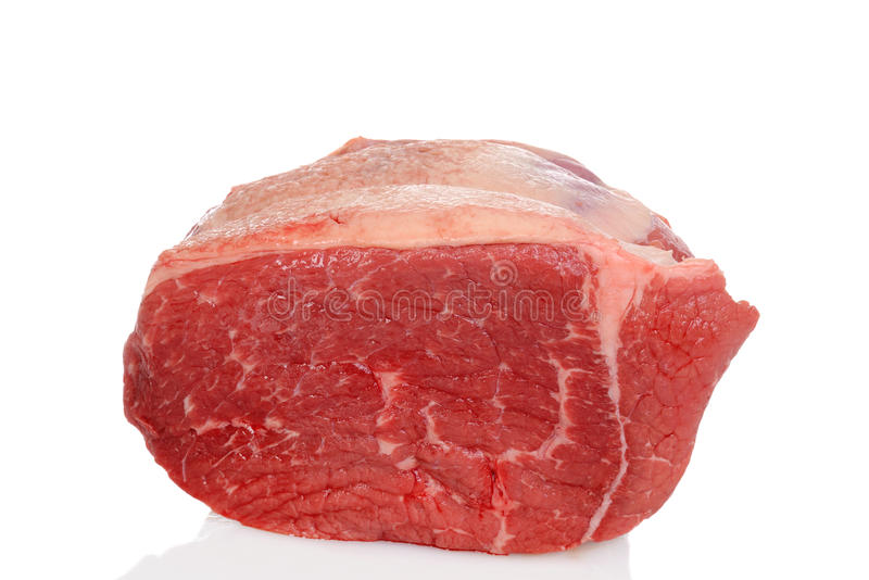 Raw outside round beef roast royalty free stock photography