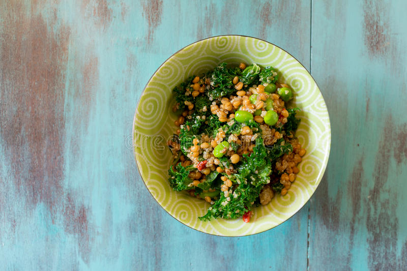 Raw Paleo Kale and Quinoa Superfood Salad royalty free stock images