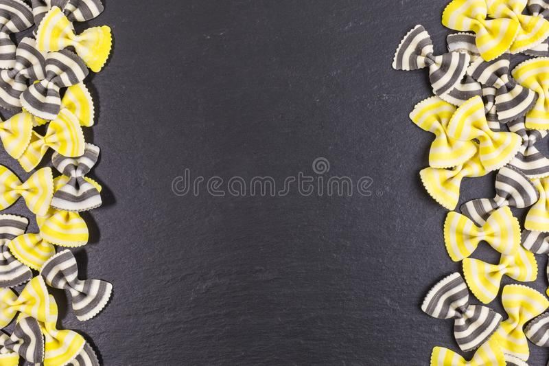 Raw pasta background stock image