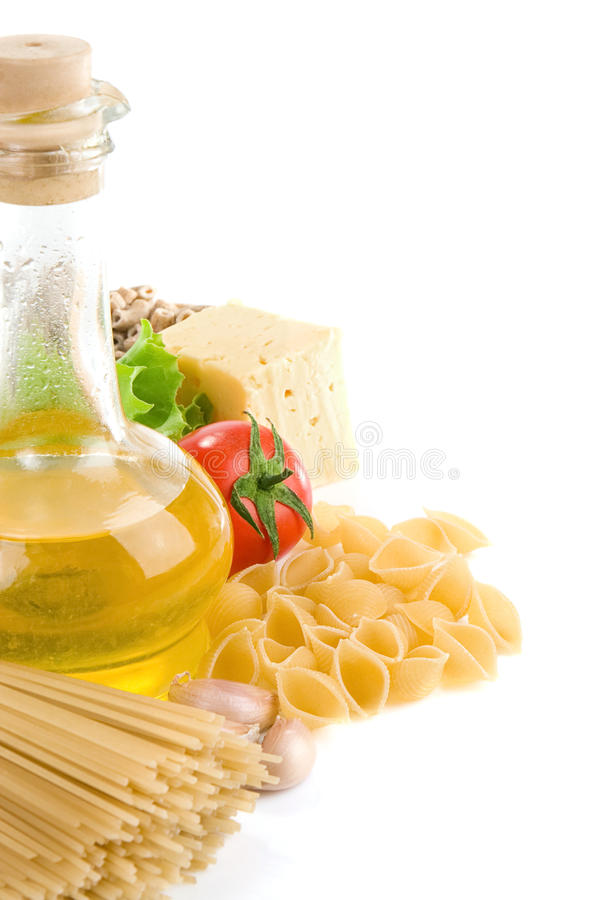 Raw pasta and healthy food isolated on white stock images