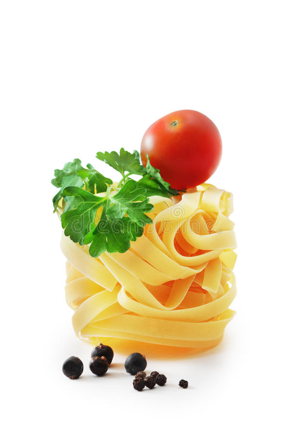 Download Raw pasta nest stock photo. Image of dinner, nest, cherry - 25621214