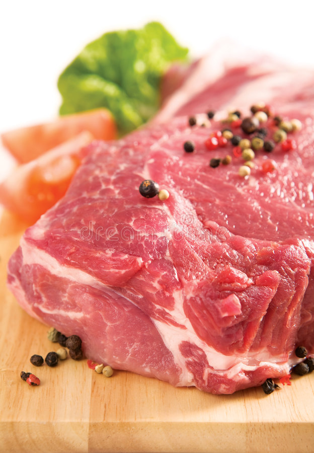 Raw piece of meat stock photo