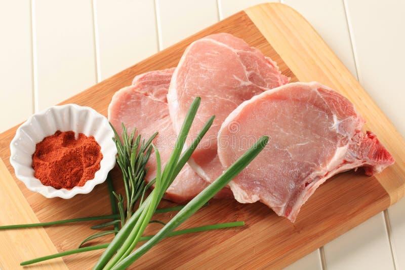 Raw Pork Chops Royalty Free Stock Photography