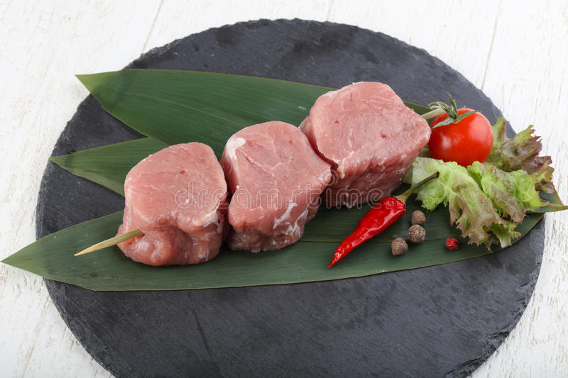 Raw pork fillet mignon. Ready for cooking royalty free stock images