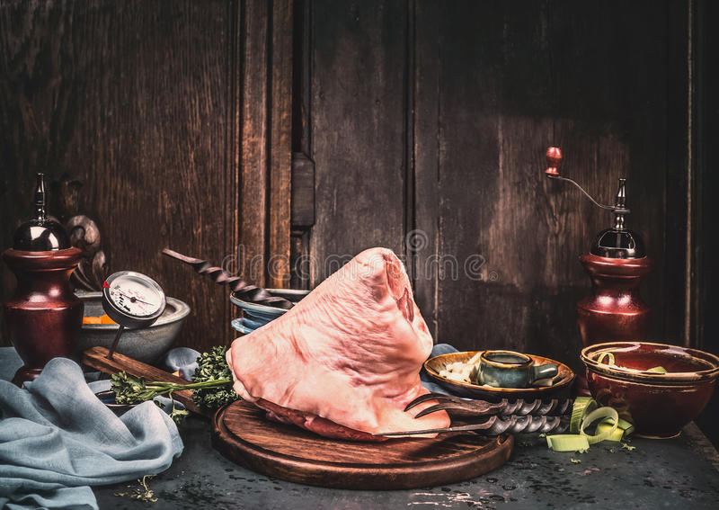 Download Raw Pork Knuckle Eisbein, Preparation On Rustic Kitchen Table At Wooden Background, Front View Stock Photo - Image: 83700852