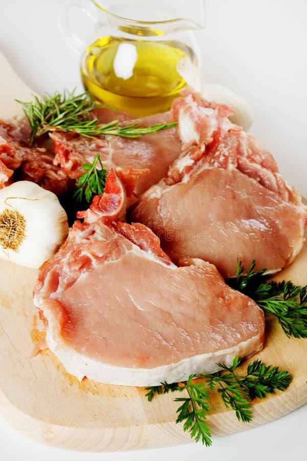 Raw pork loin chops