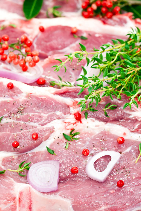 Free Raw Pork Meat And Seasoning Royalty Free Stock Image - 14355816