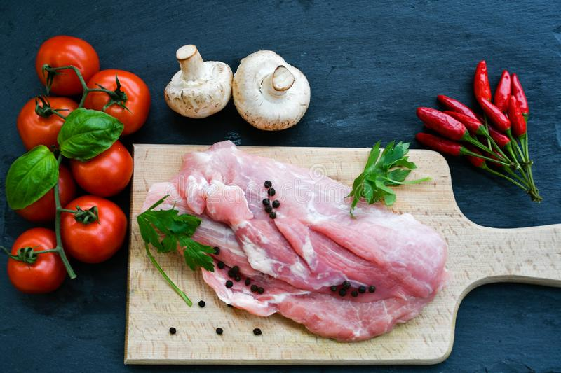 Download Raw pork meat stock photo. Image of diet, cookinand - 105399280