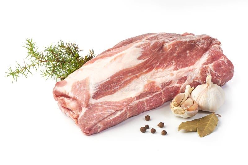 Raw pork neck boneless, close-up, isolated on white background.  stock photography