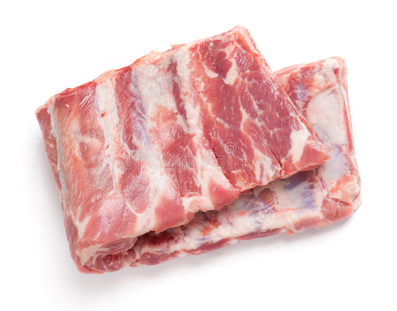Raw pork ribs. Isolated on white background royalty free stock images