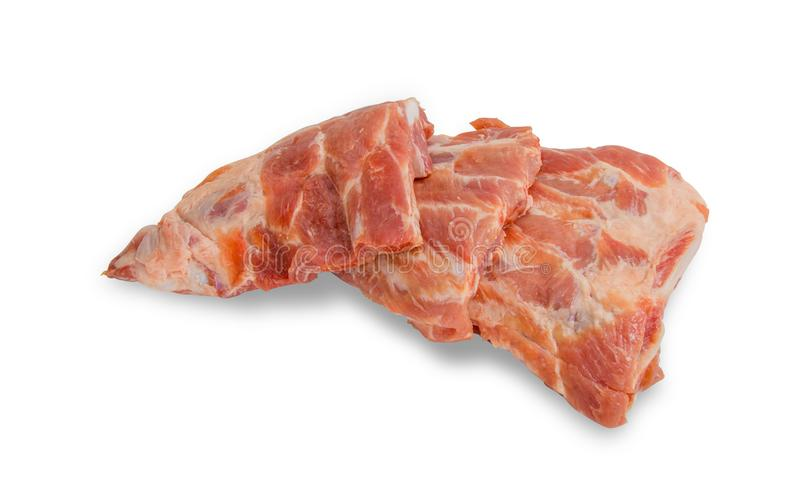 Raw pork ribs isolated on white background. File contains a clipping path. Close up raw pork ribs isolated on white background. File contains a clipping path royalty free stock photos