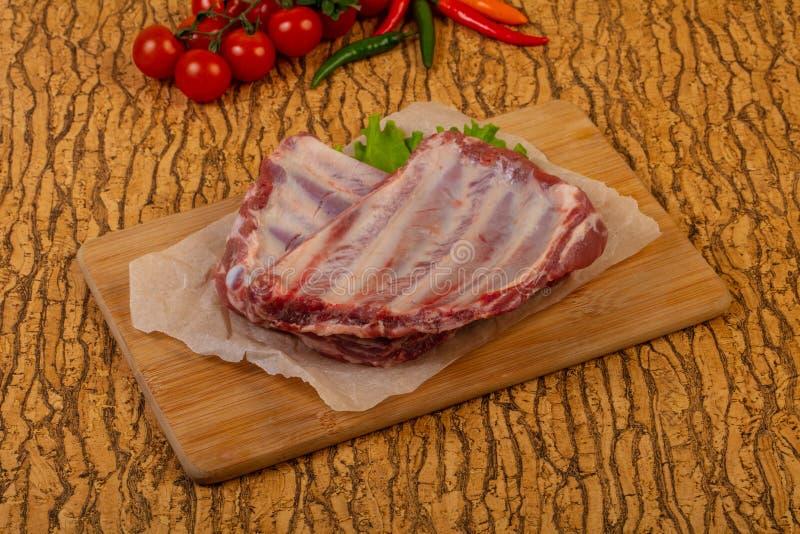 Raw pork ribs stock image