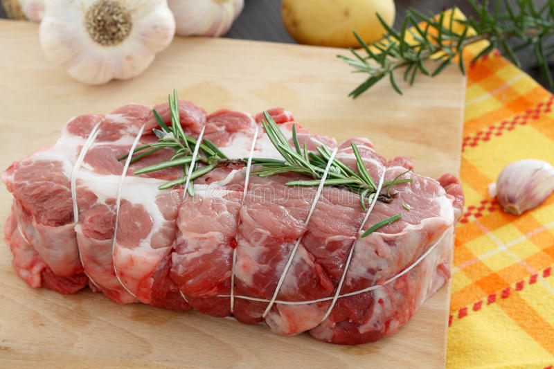 Raw pork roast royalty free stock image