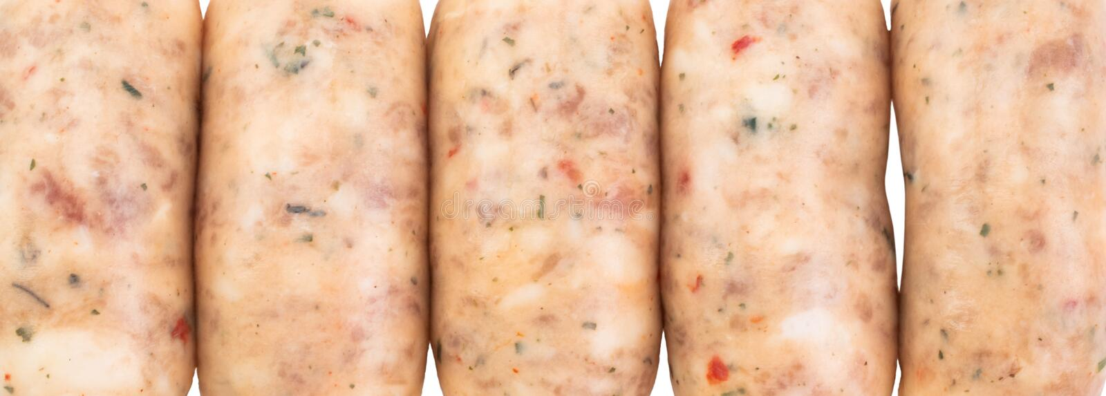 Raw pork sausages isolated on white background with clipping path.  royalty free stock photo