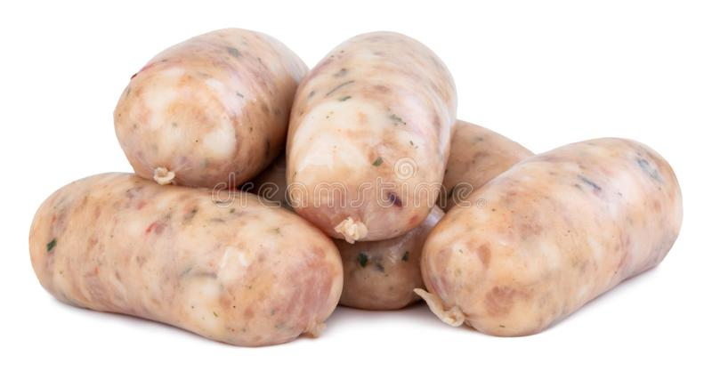 Raw pork sausages isolated on white background with clipping path.  stock photography