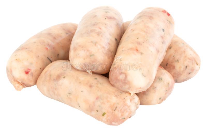 Raw pork sausages isolated on white background with clipping path.  royalty free stock image