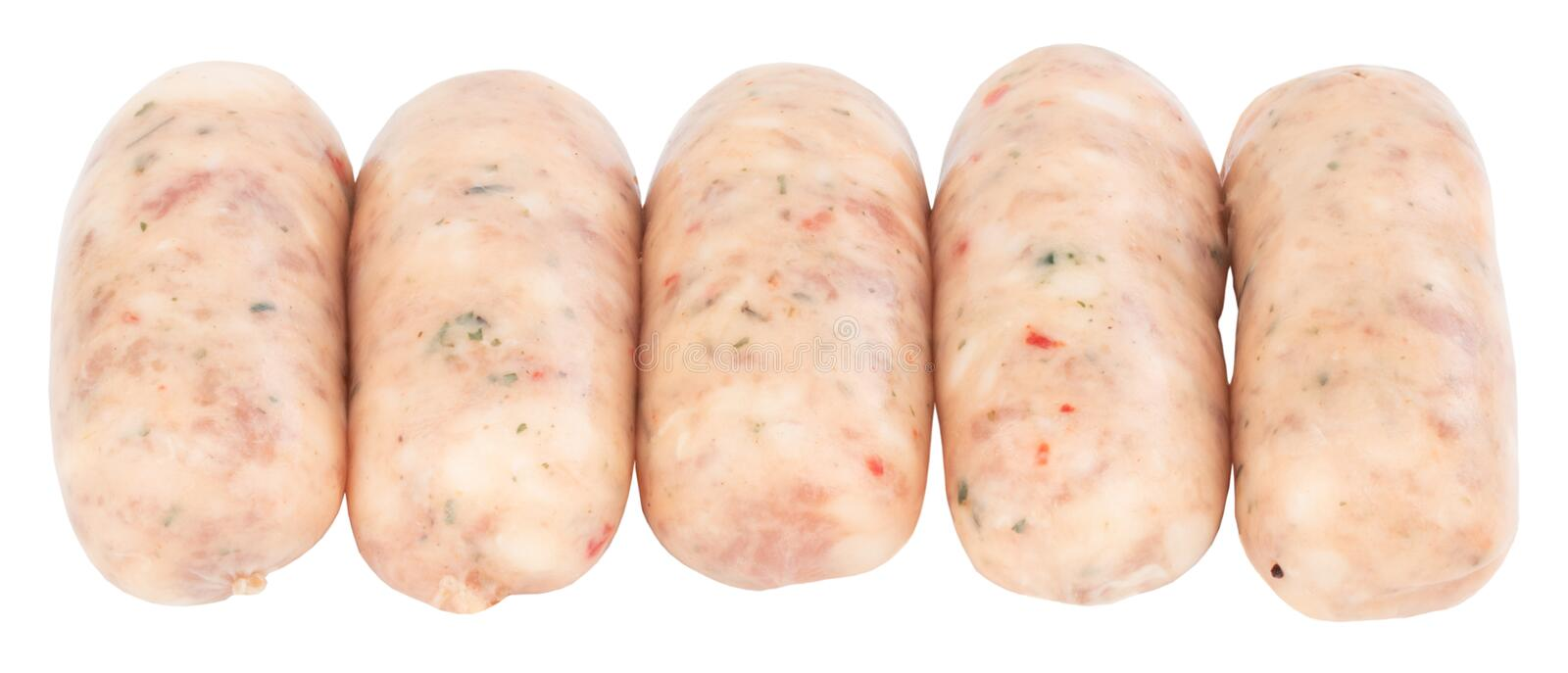 Raw pork sausages isolated on white background with clipping path.  stock photos