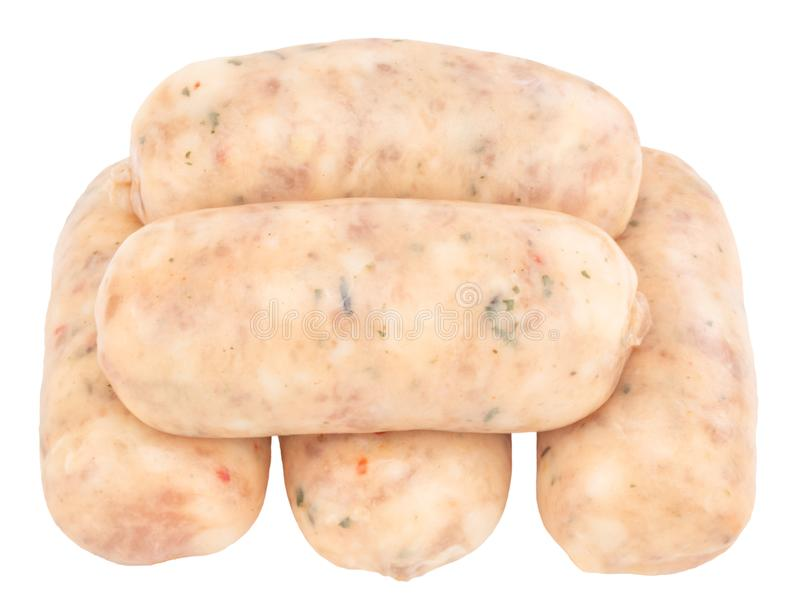 Raw pork sausages isolated on white background with clipping path.  royalty free stock images