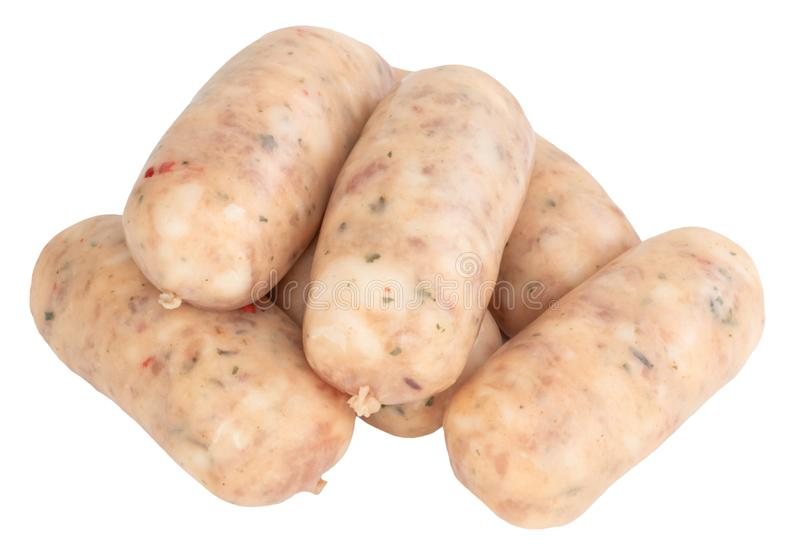 Raw pork sausages isolated on white background with clipping path.  stock images