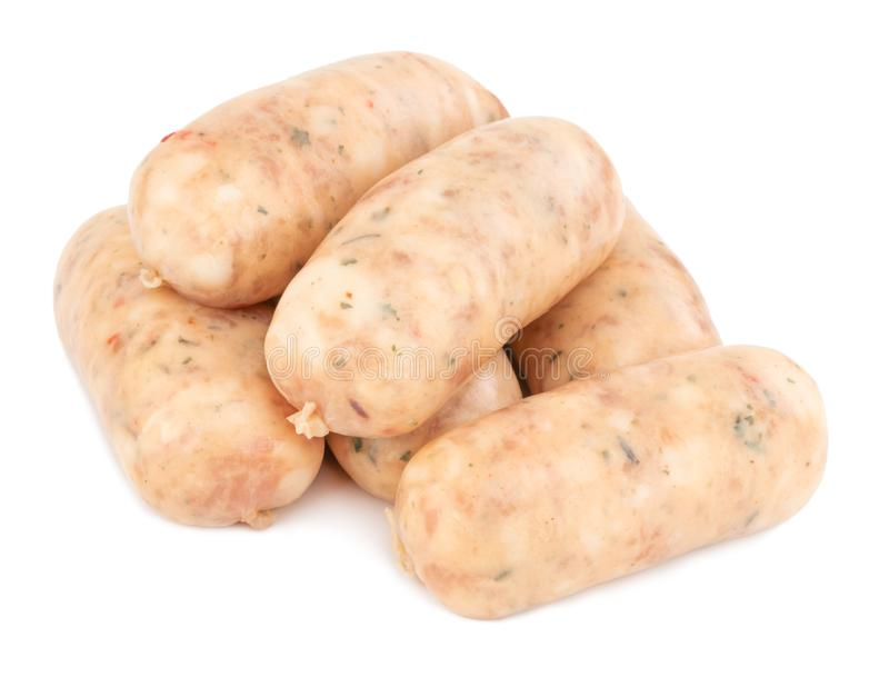 Raw pork sausages isolated on white background with clipping path.  royalty free stock photography