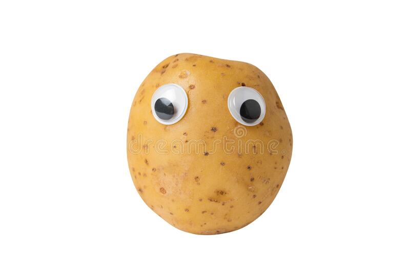 Raw Potato With Googly Eyes On Isolated White Background Potatoes