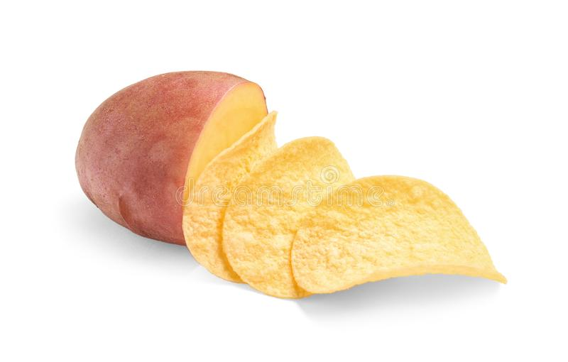 Raw potato and tasty chips royalty free stock photo